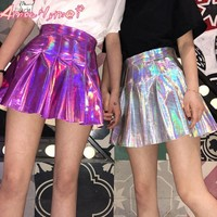 Punk Style Summer Women Harajuku Skirt Purple/Silver Holographic Hologram Metallic High Waist Pleated Mini Skirt Female Skirts