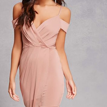 Open-Shoulder Satin Dress