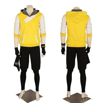Halloween 2017 New Men's Pokemon Go Hoodie Trainer Yellow  Cosplay Costume Team Valor Instinct Mystic  High Quality  Custom Made