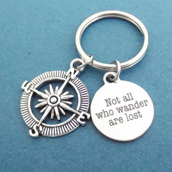 Compass, Not all who wander are lost, Key chain, Wanderer, Traveler, Key ring, Birthday, Best friend, Friendship, Gift, Jewelry, Accessory