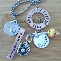 Customize Your Softball ( baseball soccer basketball football ) chunky charm necklace - hand stamped