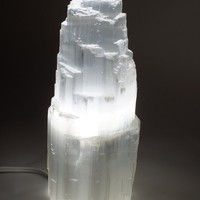 "Natural Selenite Electric Lamp White with LED Bulb JIC Gem around 8"" High"