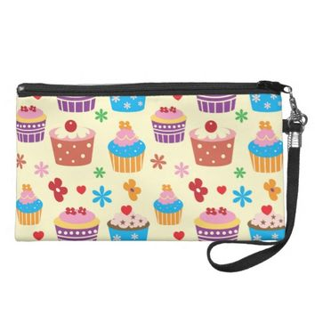 Cute Colorful Cupcakes Pattern Wristlet