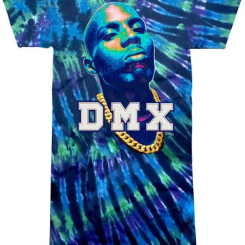 DMX Varcity Patches Cotton Tie Dye Extra Long T-Shirt