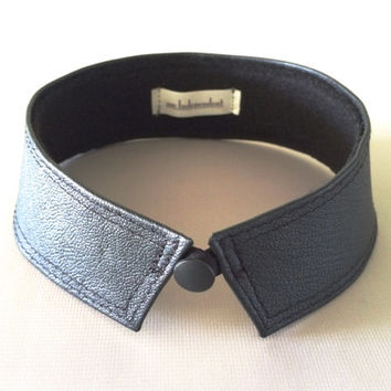 leather choker necklace | peter pan collar | black choker | leather collar | women's bdsm collar | black leather necklace | choker collar