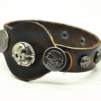 Real Leather Cuff Bracelet,Women Leather Jewelry Bangle Cuff Bracelet Men Leather Bracelet RC20