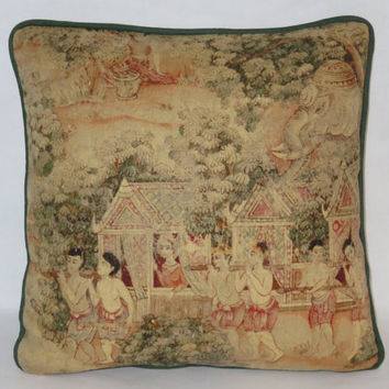 "Jims Dream Pillow, Thai Pictorial, Scenic Oriental Print, Jim Thompson Fabric, Elephant, Green Coral Gold Beige, 17"" Linen, Feather Insert,"