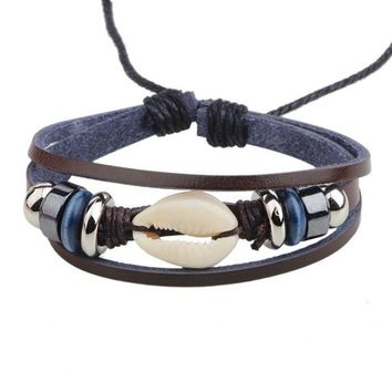 Leather and Cowrie Shell Boho Bracelet-In Stock