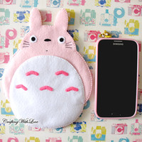 Totoro My Neighbour Cute Kawaii Pink iPhone Camera Felt Case. Fairytale. Samsung Galaxy Note2 Note3 Gadgets Cell Phone Case