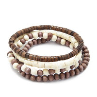 Men Wooden Bead Bracelet Set