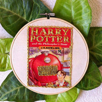 Harry Potter and the Philosopher's Stone book cover embroidery hoop art/HP1 stitching/literature embroidery