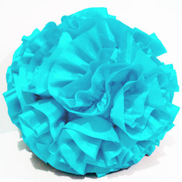 baby light pastel blue ruffled polyfilled playful round pillow in a round 16 inch diameter
