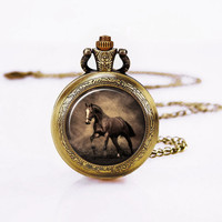 Horse Necklace-Horse Watch Necklace,Pocket Watch,Art pendant, Personzlied Gifts