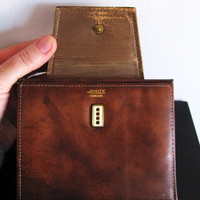 vintage chestnut brown leather AMITY wallet.