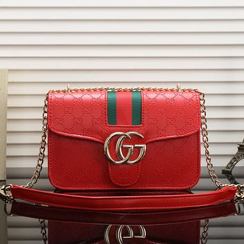 Gucci Women Leather Chain Satchel Shoulder Bag Crossbody