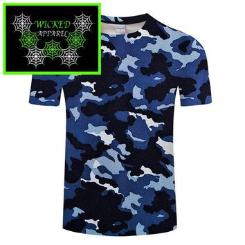 Wicked Apparel Blue Camo T-Shirt #81