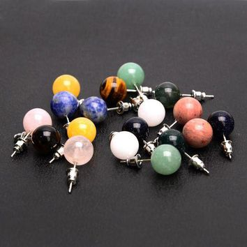 LMFIJ6 New Arrival Candy Color Round Beads Natural Stone Stud Earrings For Women Brincos Accessories Gifts Fine Jewelry