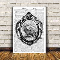 Animal art Deer poster Dictionary print Wall decor RTA320