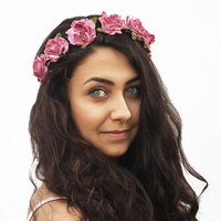 Vintage Pink Rose Crown - Woman Hair Accessory,  Floral Crown, Rose Headband, Hippie Flower Headband, Summer Accessory, Floral
