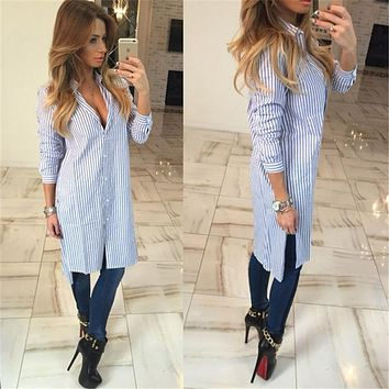 2017 Russia Autumn Winter Women Long Blouses Fashion Striped Shirts Long Sleeve Elegant Cute slim Loose Women Sexy Blouse Blusas