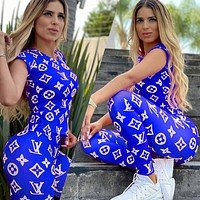 Louis Vuitton LV New Sexy Printed Letter Women Two-Piece Short Sleeve + Long Pants Blue