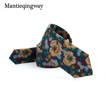 Fashion Mens Tie Skinny Floral Neck Tie Printed Ties For Men Formal Wear Business Suit Wedding Bow Tie Gravatas