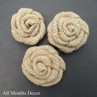 Natural Burlap Rosettes, Rustic Country Decor, DIY Wedding Crafts, Flowers Floral, Party, Home