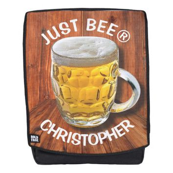 Glass Pint Beer Mug With White Head With Your Text Backpack