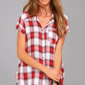 Here We Go Red Plaid Button-Up Top