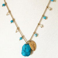 Turquoise Leaf Pendant Necklace/Earrings Set