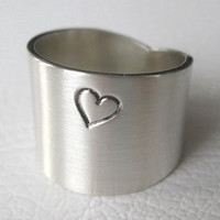 Heart Ring Sterling Silver Wide Band Valentine by JenniferWood