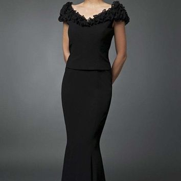 Daymor Couture - Ruffled Off Shoulder Mermaid Gown 702003