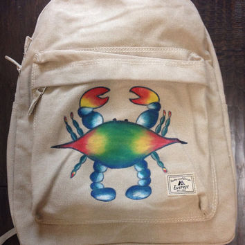 Everest Laptop Backpack Hand Painted with Blue Crab