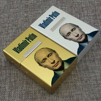 1 Piece Russian President Vladimir Putin Celebrity Famous Person Aluminum Alloy Golden Silvery 20 PCS Flip Cigarettes Case