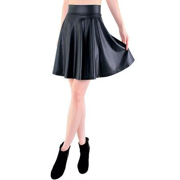 free shipping new high waist faux leather skater flare skirt mini skirt above knee solid color skirt S M L XL