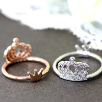 1piece Crystal Crown Ring Rearside Tiny tiara Both side wearable Ring Jewelry Rose Gold or Silver Gift Idea