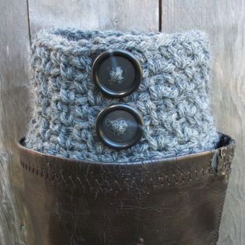 Boot Cuffs Grey Boot Toppers Crocheted Gray Legwarmers