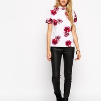 ASOS T-Shirt with High Neck in Floral Print