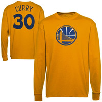 Majestic Stephen Curry Golden State Warriors Name & Number Long Sleeve T-Shirt - Gold
