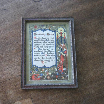 Antique Art Nouveau 'Somebody Cares' Motto Picture~ 1920s Poem/Motto; Mucha-Style Lady with Flowers/Holly; Gorgeous Carved Frame