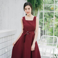 Baverly - Open Back Dark Red Dress Burgundy Dress Long Party Dress Vintage Modern Swing Dance Dress Bridesmaid Dress - More Color Option