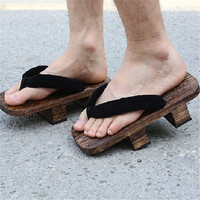 Japanese Clogs Cosplay Wooden Slippers Sandals Couple Thick Soled Clogs Women Shoes Fashion Flip Flops