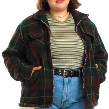 Vintage 90's Plaid Blaze It Zip-Front Jacket - XL/2X