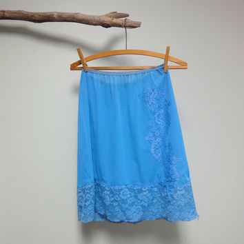 Blue Bird Mini Slip, Vintage 1960s Half Slip, Pillow Tab