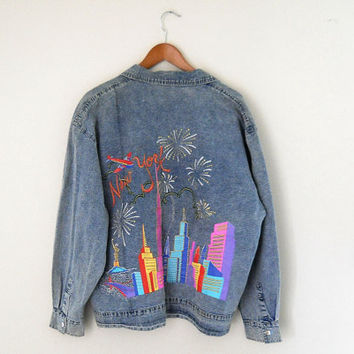 New York City 90s Denim Jacket 90s Jean Jacket Plus Size Jacket Painted Denim Jacket 80s Jean Jacket Women Jean Jacket Women Denim Jacket XL