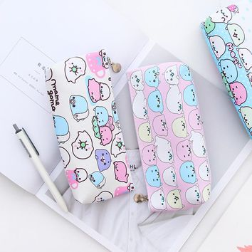 Kawaii Gudetama Pencil Bag Cute PU leather pen pouch stationery Estuche School Office Supplies Lazy Egg pencil case Zakka