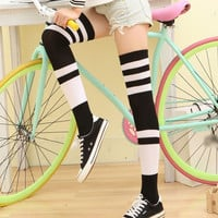 6 Colors Fashion Style Women's Over Knee High Socks Vertical Wide Striped Women Stocking Sexy School campus Girl Stocking Female