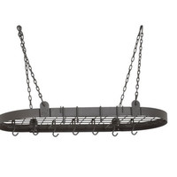 36 x 18 Graphite Oval Pot Rack w/12 Hooks