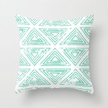 Triangle Pillow Cover Lucite Green Pantone 2015 Color Aztec Southwest Boho Bohemian Mint Aqua Home Decor