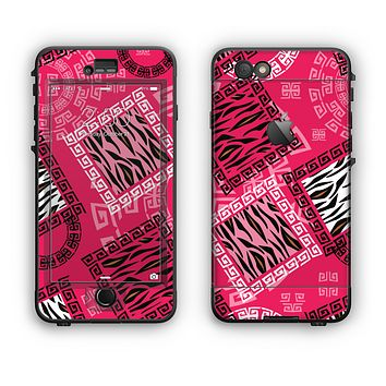 The Pink Patched Animal Print Apple iPhone 6 LifeProof Nuud Case Skin Set